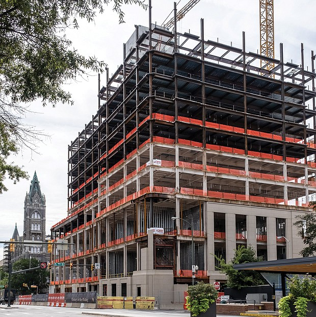 The 15-story office building that will house the Virginia General Assembly is taking shape at 9th and Broad streets across from Richmond City Hall. Gilbane Construction expects to complete the work in 2021, in time for the 2022 legislative session. Work began three years ago with the demolition of the former office building. The project is part of a $300 million state investment in Capitol Square that includes the renovation of Old City Hall and construction of a parking deck on the east side of the new General Assembly Building.