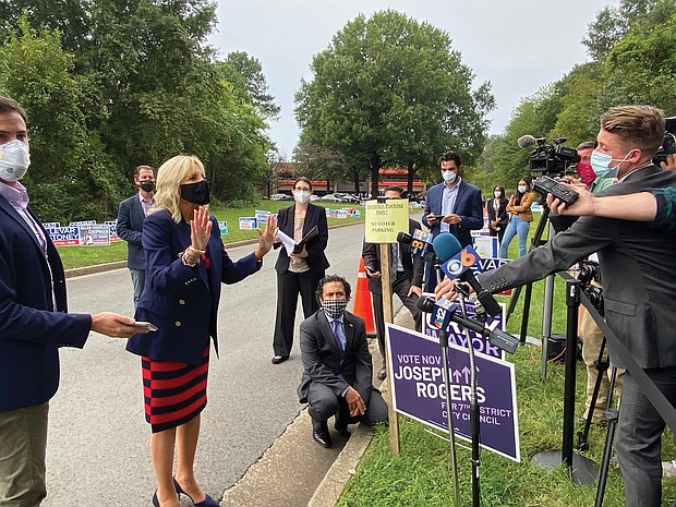Dr. Jill Biden, wife of Democratic presidential candidate Joe Biden, makes a campaign stop last Thursday at the Richmond Voter Registrar's Office on West Laburnum Avenue, where early voting is underway. After greeting arriving voters outside with Mayor Levar M. Stoney and Delegate Lamont Bagby of Henrico, head of the Virginia Legislative Black Caucus, Dr. Biden talked with local media. Candidates and/or their surrogates have been stumping in Virginia in recent days. President Trump held a rally last Friday at the Newport News-Williamsburg International Airport. And Douglas Emhoff, husband of Democratic vice presidential candidate Sen. Kamala Harris is expected to campaign in Virginia in the next few days. Early voting for the Nov. 3 presidential election and other contests continues in the state through Saturday, Oct. 31.