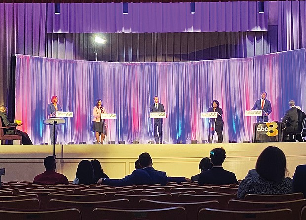 Mayoral candidates, from left, Alexsis Rodgers, City Councilwoman Kim Gray, Justin Griffin, Tracey McLean and Mayor Levar M. Stoney field questions during the Sept. 24 forum at Virginia Union University moderated by former Gov. L. Douglas Wilder, who also is a former Richmond mayor, and Juan Conde of WRIC 8News.