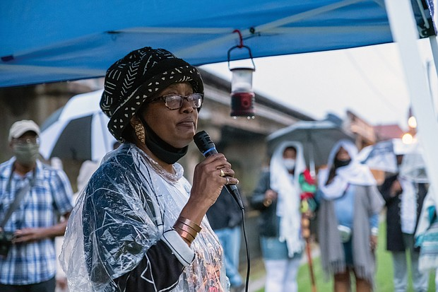 Pamela Bingham, a descendant of Mr. Prosser, speaks at the gathering that aimed to educate people about the past and to update people on the progress of the memorial to the enslaved that is planned for the site at 15th and Broad streets. The site once contained the African Burial Ground and the city gallows, where members of the revolt, including Gabriel, were hanged.