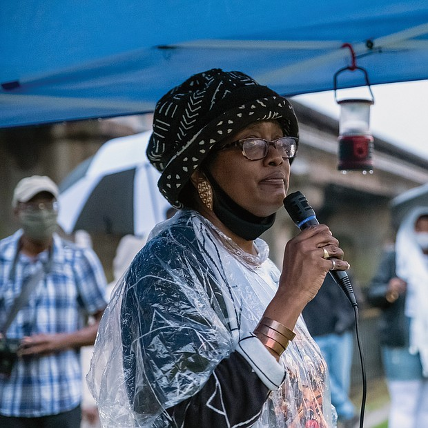 Pamela Bingham, a descendant of Mr. Prosser, speaks at the gathering that aimed to educate people about the past and to update people on the progress of the memorial to the enslaved that