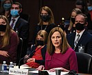 Supreme Court nominee Judge Amy Coney barrett speaks Monday during her Senate Judiciary Committee confirmation hearing on Capitol Hill.