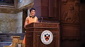 Mellody Hobson, Class of 1991, accepts the Woodrow Wilson Award in February 2019 during Alumni Day. Ms. Hobson made the lead gift to establish a new residential college at the site of Princeton University's first residential college, formerly known as Wilson College.