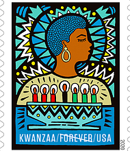 The new Kwanzaa postage stamp is now available from the USPS nationwide. A pictorial postmark of the first-day-of-issue location, Nashville, TN, is available at usps.com/stamps.