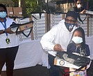 School supply and mask giveaway at Drew Hamilton Houses in Harlem