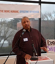 """""""People need to know how unfair our current system is to people of color,"""" says Bobby Byrd, a Yes on 110 campaign organizer who testified to the measure's racial and ethnic impacts.  Oregon voters passed Measure 110 in Tuesday's General Election."""