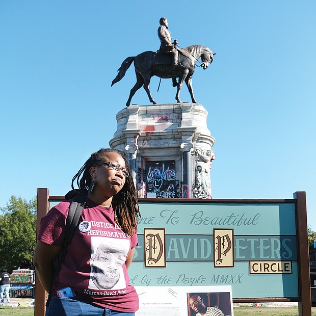 Princess Blanding, sister of the late Marcus-David Peters, joined family members in hosting a celebration Saturday to mark what would have been her brother's 27th birthday and to keep his memory alive. Location: The Lee statue in Richmond that sits on a traffic circle that some now call Marcus-David Peters Circle.