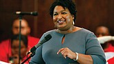 Former Georgia gubernatorial candidate and state Rep. Stacey Abrams speaks on March 1 to the congregation at Brown Chapel AME Church in Selma, Ala.