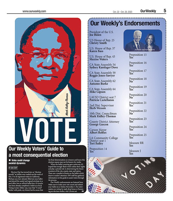 Our Weekly Voters Guide To A Most Consequential Election Our Weekly Black News And Entertainment Los Angeles