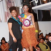 Yamine Young pictured with her model after winning the Catwalk for Water Fashion Show in 2013.