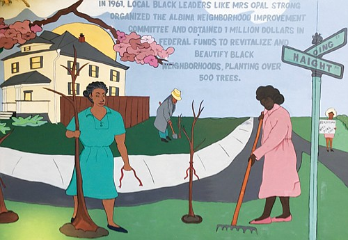 One of five panels from a new community mural by Black artist and musician Daren Todd recreates a scene in 1961, when Mrs. Opal Strong organized a neighborhood improvement committee and secured a large government grant to beautify and revitalize Black neighborhoods in Portland. Over 500 trees were planted, including several cherry trees that Dodd depicted in the mural.