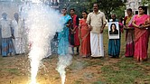 Villagers burst firecrackers Nov. 8 to celebrate the victory of U.S. Vice President-elect Kamala Harris in Painganadu a neighboring village of Thulasendrapuram, the hometown of Sen. Harris' maternal grandfather, south of Chennai, Tamil Nadu state, India. Waking up to the news of Sen. Harris' election as Joe Biden's running mate, overjoyed people in her small ancestral Indian village set off firecrackers, carried her placards and offered prayers.