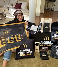 Morgan State University sophomore Melanie Battle is the winner of a McDonald's Black & Positively Golden® Scholarship. In addition to a $6,800 scholarship, she received a tablet, school supplies, and other items.