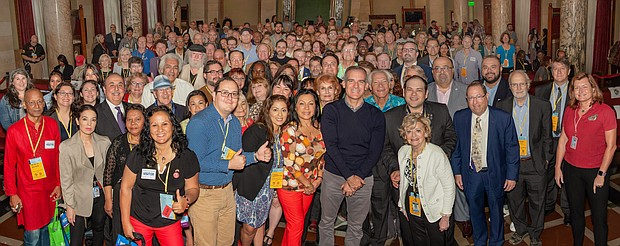 Members of all 99 Los Angeles Neighborhoods Councils at the annual Congress of Neighborhoods with Mayor Eric Garcetti and other City officials.