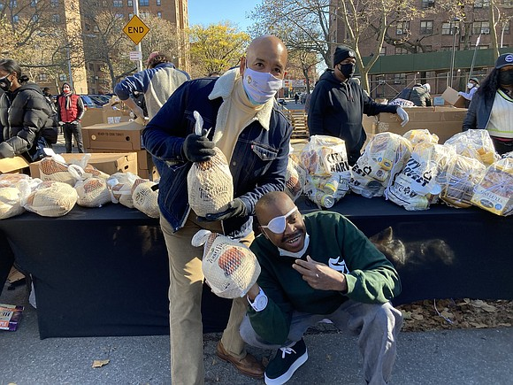 Ahead of the Thanksgiving holiday, local elected officials teamed up to distribute 700 turkeys, holiday side dishes and PPE for ...