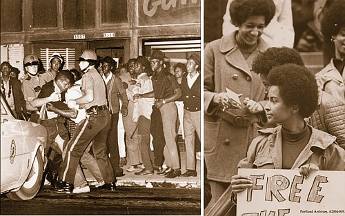 The Portland Observer, born in 1970, traces its beginnings to a need to cover issues from the African American community's perspective. Photos show some of the turmoil the community was facing at the time, as two young African American men get arrested by white police officers while surrounded by a crowd (left) and Sandra Ford as a founder of Portland's Black Panther Party pickets in support of repressed peoples at the U.S. Courthouse, downtown. (Oregon Historical Society photos)
