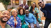 """The Fresh Prince of Bel-Air"" 30th anniversary reunion show, airing Nov. 19, on HBO Max, features cast members, from left, Will Smith; Daphne Maxwell Reid (Aunt Viv); Karyn Parsons (Hilary Banks); Alfonso Ribeiro (Carlton Banks); Joseph Marcell (Geoffrey); Tatyana Ali (Ashley Banks); and DJ Jazzy Jeff (Jazz)."