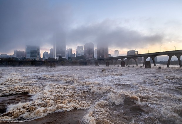 These photos offer a view of the James River as it roared through Richmond last weekend after two days of heavy rain, swelling it to its highest levels in two decades. In Downtown, the river crested near 18 feet on Nov. 13 and 14, according to the U.S. Geological Survey, which monitors the river's daily flow.