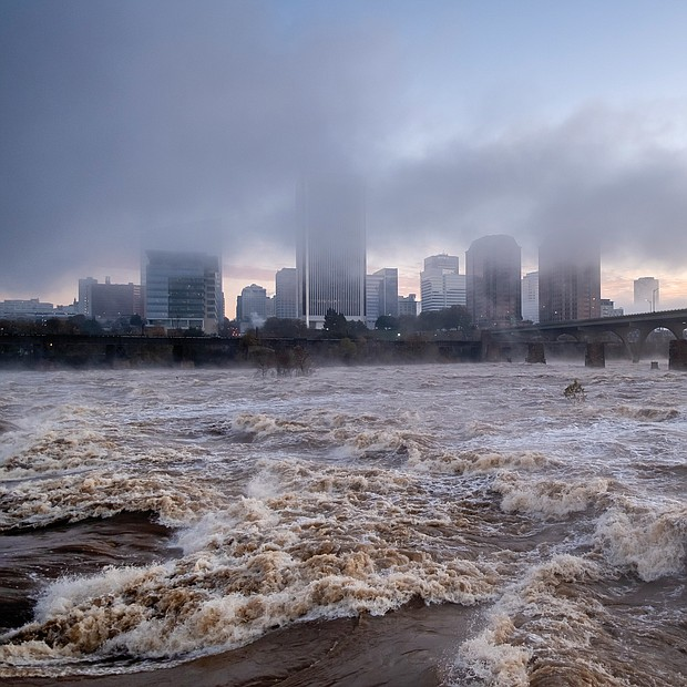 These photos offer a view of the James River as it roared through Richmond last weekend after two days of heavy rain, swelling it to its highest levels in two decades.