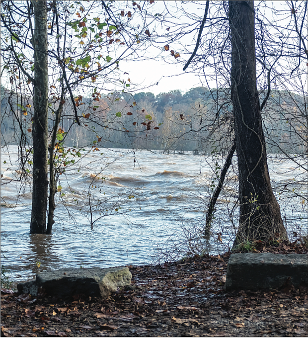 Near Rocketts Landing to the east of Downtown, the surging river flooded an unprotected section of the Virginia Capital Trail.