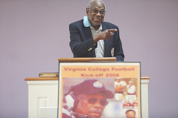 Coach Willard bailey speaks at a celebration last Friday honoring him for his selection to the 2021 Class of the black College Football Hall of Fame.