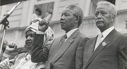 Mayor David Dinkins with Nelson and Winnie Mandela