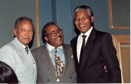 Mayor David Dinkins, Amsterdam News Publisher Bill Tatum and President Nelson Mandela in New York, June 1990