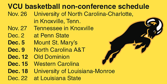 Virginia Commonwealth University's non-conference basketball schedule will start and end with trips to Southeastern Conference schools.