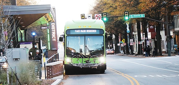 GRTC buses, like the one shown, kept their headlights on Tuesday in honor of late civil rights pioneer Rosa Parks, who helped launch the modern Civil Rights Movement. She lit the spark 65 years ago on Dec. 1, 1955, when she was arrested in Montgomery, Ala., for refusing to give up her bus seat to a white person and move to the rear of the bus that was reserved for Black people. Her action led to a yearlong public transit system boycott led by Dr. Martin Luther King Jr. and a U.S Supreme Court decision extending a ban on segregated public transit seating to previously exempt local bus systems. Because of the pandemic, GRTC dropped its tradition of reserving the front bus seat in honor of Ms. Parks, who died in 2005. A special message honoring Ms. Parks was included on the rotating messages on the digital header signs on each bus, GRTC officials stated.