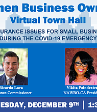 Virtual town hall on insurance issues for Women Business Owners during the COVID-19 pandemic emergency.