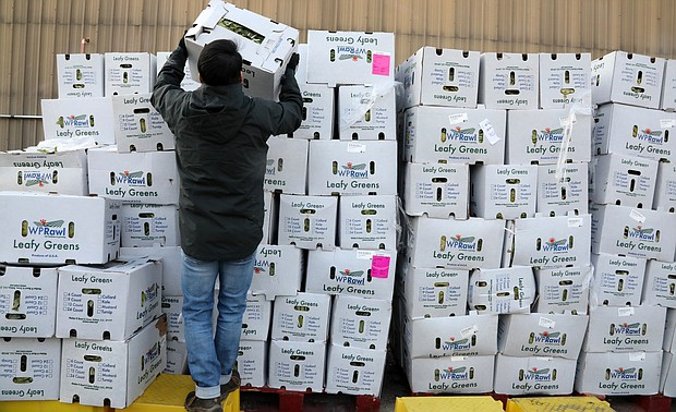 Paul Yoon, 49, of Midlothian organizes boxes of fresh greens as he and dozens of other volunteers prepare for the drive-thru food service to open at the Chesterfield Food Bank. Mr. Yoon has been volunteering with the feeding program since the pandemic's start.