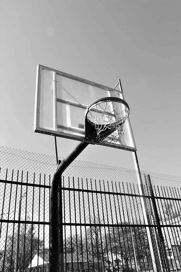 Basketball hoop taken at the court on Gilmore and Laurens St. adjacent Gilmor Homes