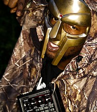 A promotional photograph of rapper and producer MF Doom for his [then] upcoming concert at The Arches in Glasgow, Scotland, Sept. 10, 2008