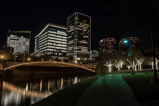 Richmond's skyline comes to life during the holiday season, with the glow of lights embracing Downtown and the riverfront. The seasonal lighting officially got underway Dec. 4, with RVA Illuminates. This photograph of the Downtown skyline was taken from Brown's Island.