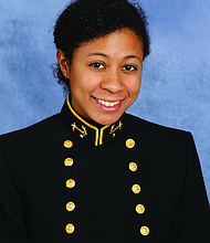 Drum Major Award Midshipman First Class Madeleine Cooke is originally from Maryland. Cooke and her family ultimately settled in New York City, where Cooke graduated from St. Saviour High School in Brooklyn. During high school, Cooke volunteered at the St. Saviour Church food pantry. She now attends the U.S. Naval Academy, where she consistently meets the Academy's mental, moral, and physical mission with resolve and grit and has been an exemplary leader. At the Naval Academy, Cooke is the president of the Midshipman Black Studies Club, which works to empower future leaders of the U.S. Navy and U.S. Marine Corps.