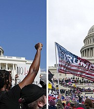 In this combination of photos, demonstrators (left), protest last June 4 in front of the U.S. Capitol in Washington, D.C., over the death of George Floyd and on Tuesday, Jan. 6, supporters of President Donald Trump rally at same location. (AP photos)