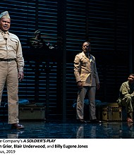 """David Alan Grier, Blair Underwood and Billy Eugene Jones in Roundabout Theatre Company's """"A Soldier's Play,"""" 2019"""