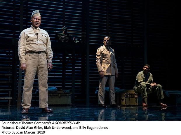 "David Alan Grier, Blair Underwood and Billy Eugene Jones in Roundabout Theatre Company's ""A Soldier's Play,"" 2019"