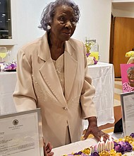 Catherine Stovall pictured at her 100th year birthday celebration.  Photo courtesy of the Village of Robbins