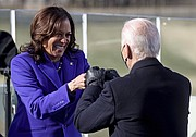 Vice President Kamala Harris bumps fists with President-elect Joe Biden after she was sworn in during the inauguration, Wednesday, Jan. 20, 2021, at the U.S. Capitol in Washington. (AP photo)