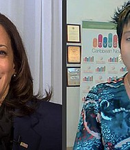 Side-by-side screengrabs of the United States' first Black Caribbean-American Vice President-elect Kamala Harris and Invest Caribbean CEO and Caribbean American advocate Felicia J. Persaud (r.), during remarks at the Global Caribbean American inauguration celebration Sunday, Jan. 17, 2021