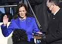 Kamala Harris is sworn in as vice president by Supreme Court Justice Sonia Sotomayor as her husband Doug Emhoff holds the Bible during the 59th Presidential Inauguration at the U.S. Capitol in Washington, D.C., Wednesday, Jan. 20, 2021.  (AP photo)
