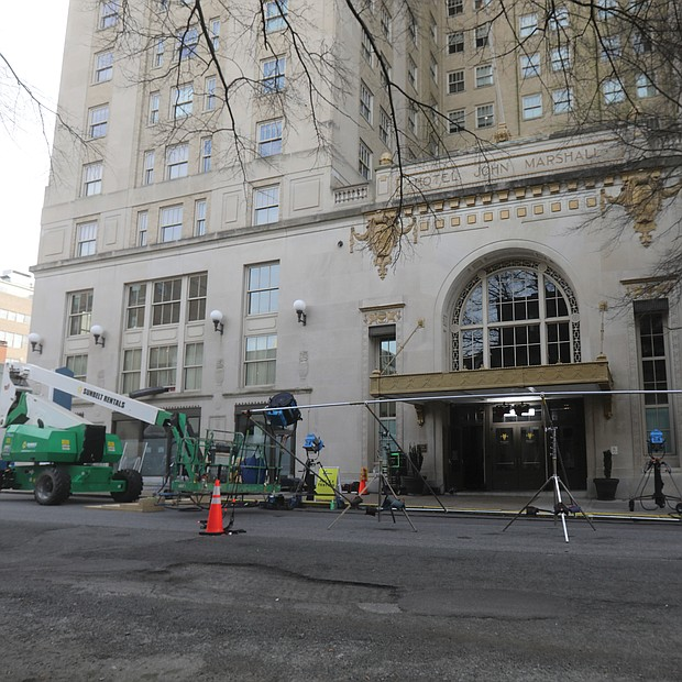 """The Residences at the John Marshall on 5th Street in Downtown became a setting Tuesday for a new TV miniseries, """"Dopesick"""" that is to stream on Hulu. The production is based on Beth Macy's book, """"Dopesick: Dealers, Doctors and the Drug Company that Addicted America."""" The production arrived in the city as separate CBS crews continued work on another miniseries, """"Swagger!,"""" that focuses on youth basketball, coaches and players' families and was inspired by the life experiences of NBA superstar Kevin Durant. The network has yet to announce a release date for the 10-part series that was filmed largely in Gilpin Court and other areas of the city."""