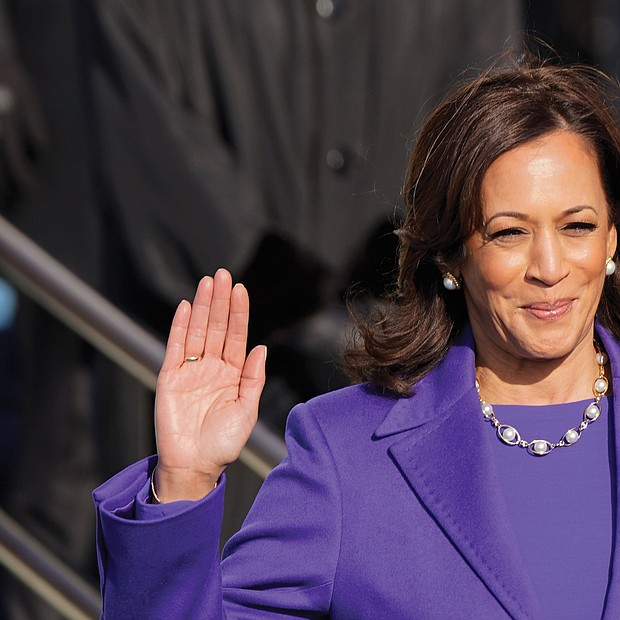 Vice President Kamala Harris is sworn in by U.S. Supreme Court Justice Sonia Sotomayor, the first Latina on the nation's highest court, as her husband, doug Emhoff holds two Bibles, one that belonged to the late Justice Thurgood Marshall, the first African-American on the nation's highest court, and the other that belonged to Regina Shelton, a neighbor who was like a second mother to Vice President Harris.
