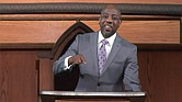 The Rev. Raphael Warnock preaches during last Sunday's virtual service at Ebenezer Baptist Church in Atlanta. The sermon was pre-recorded in the church sanctuary.
