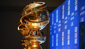 Golden Globe trophies are set by the stage ahead of the 77th Annual Golden Globe Awards  Credit:ROBYN BECK/AFP/AFP via Getty Images