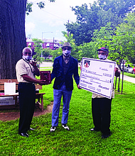 Ernest Woodson (left) with Hakeem, Father of the Year 2020-Washington DC (center), and the Chairman of the Board of Fathers Incorporated (right).