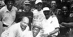 """Celebrating Black History Month I am showcasing and celebrating these guys for over 40 years of brotherhood and friendship, the Evergreen Good and Plenty Bunch. In photo are: front row, from left, is John """"Johnny"""" Jones, Lester John- son, Gilbert """"Gip"""" Gibson and George """"Buddy"""" Cole; Back row, from left, are James """"Jimmy"""" Kerr, Daniel """"Danny"""" Murphy, William """"Bill"""" Proctor and George Lottier and Charles R. Owens who is also the photographer."""