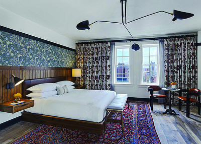 "One of the guestrooms located in Hotel Revival, a Joie de Vivre hotel located in the heart of Baltimore's historic Mount Vernon neighborhood, and a part of ""A Great Time for Two."""