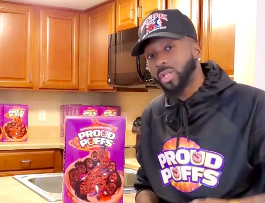 Proud Puffs is a vegan cereal in the shape of the Black fist...